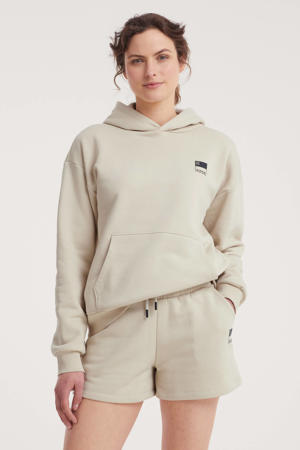 high waist straight fit short N met logo zand