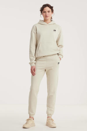 high waist straight fit joggingbroek met logo zand