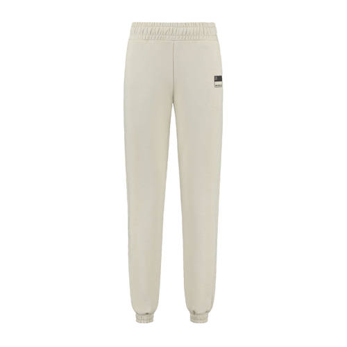 NIKKIE high waist straight fit joggingbroek met logo zand