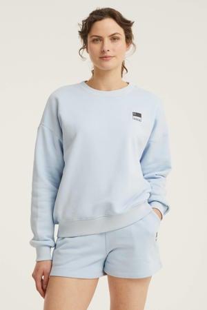 sweater N met logo lichtblauw