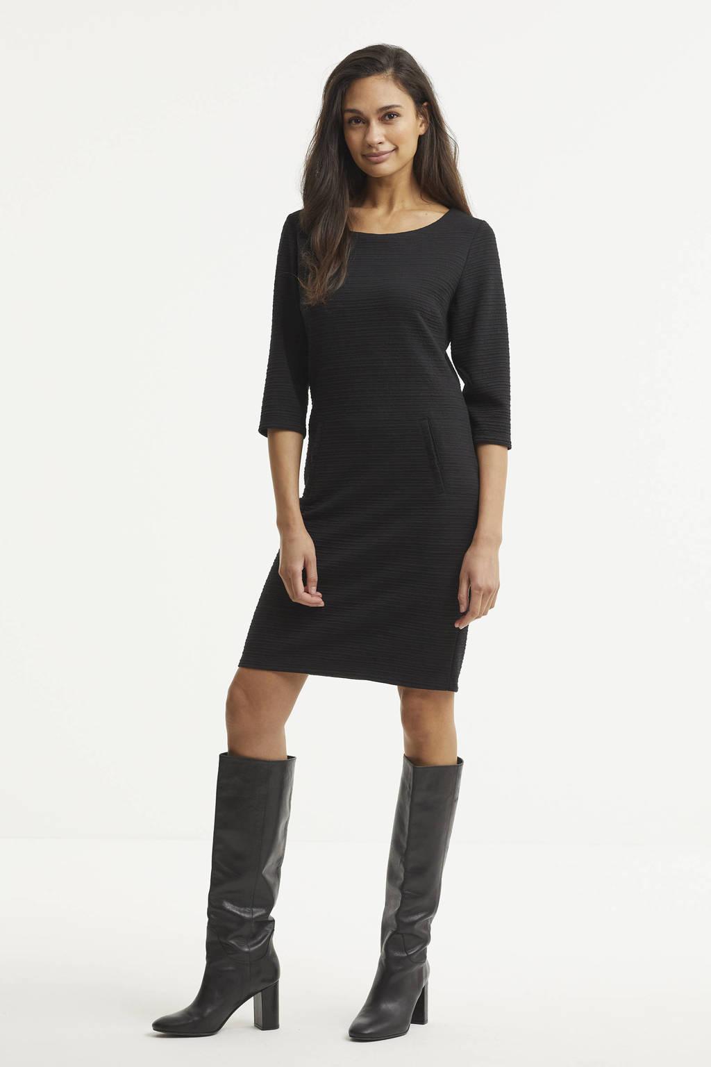 FREEQUENT jurk FQDANE-DR-3/4-STRUCTURE zwart, Zwart