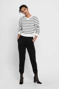 ONLY gestreepte trui ONLBALO wit/zwart, Wit/zwart