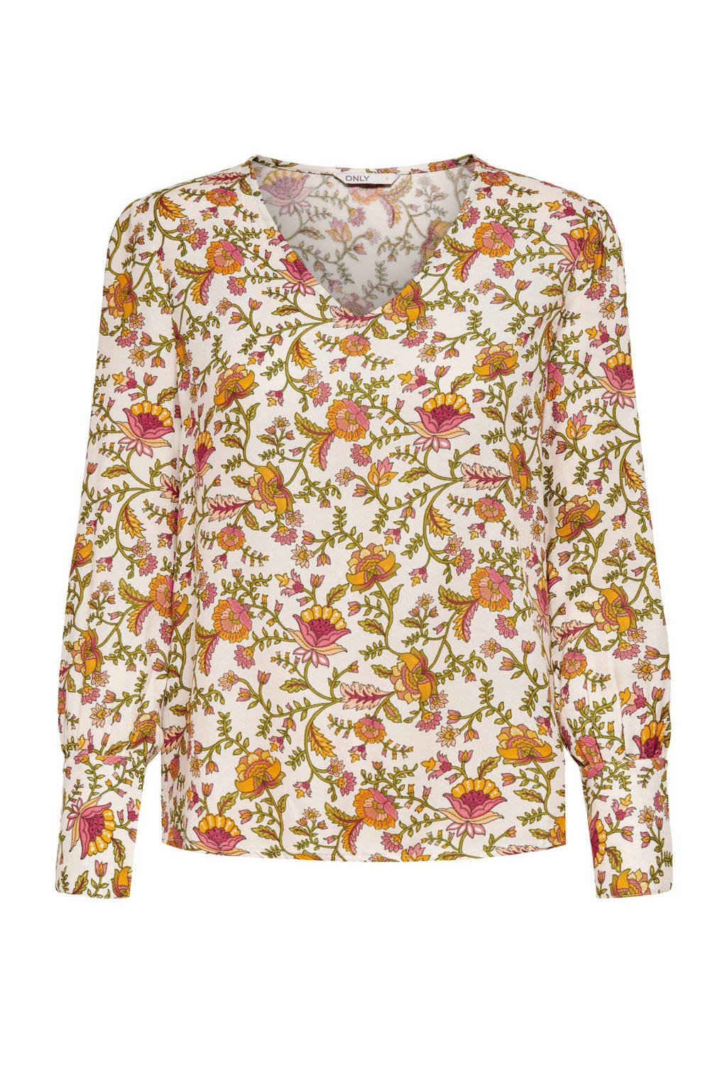 ONLY blouse ONLBELLIS met all over print creme/oranje