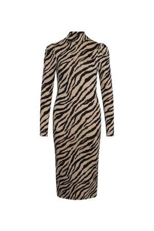 jurk Velin-dr1 met zebraprint beige/zwart