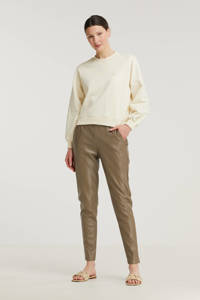 SisterS Point imitatieleren slim fit broek Daila-pa bruin, Bruin