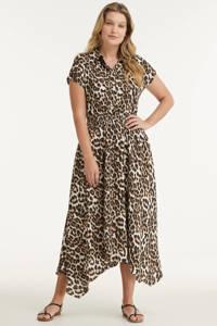 Miljuschka by Wehkamp jurk met panterprint beige/zwart, Beige/camel/zwart