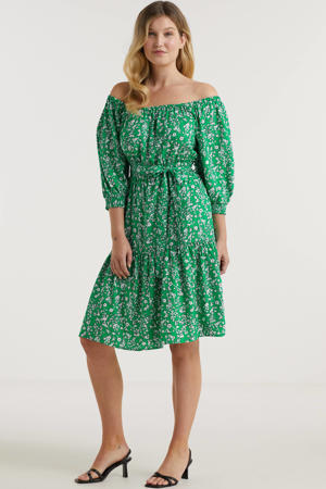 on-off shoulder jurk met millefleur print groen