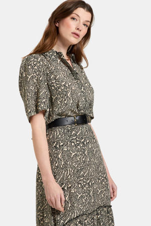 blouse Tender met all over print zand/zwart