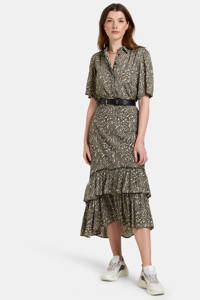 Shoeby Eksept blouse Tender met all over print zand/zwart, Zand/zwart
