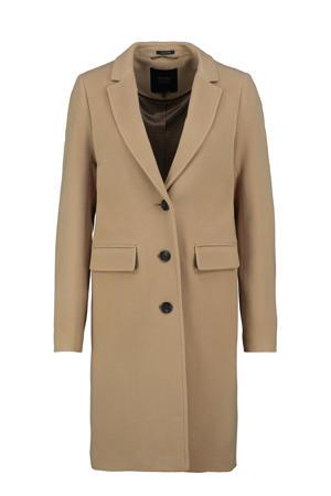coat met wol zand