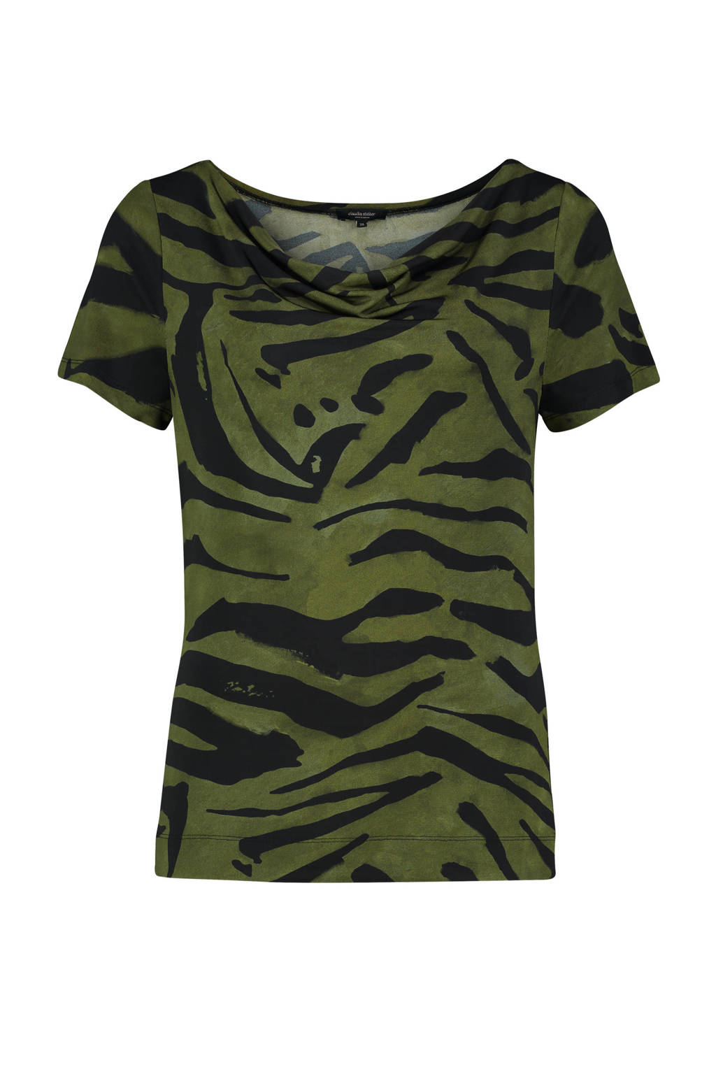 Claudia Sträter T-shirt met zebraprint groen, Groen