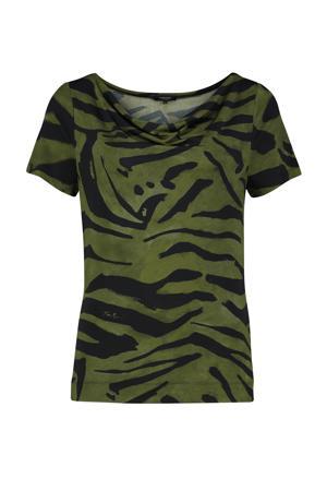 T-shirt met zebraprint groen