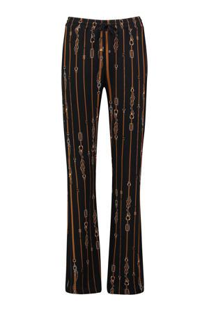 straight fit broek met all over print zwart/bruin