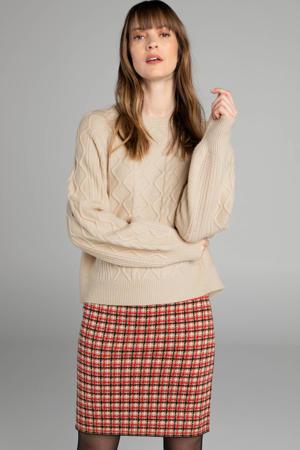 rok met wol en all over print rood/beige/zwart
