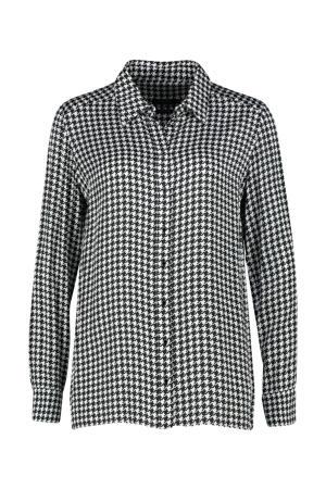 blouse met pied-de-poule zwart/wit