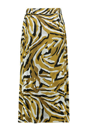 rok met all over print en ceintuur geel/zwart/wit