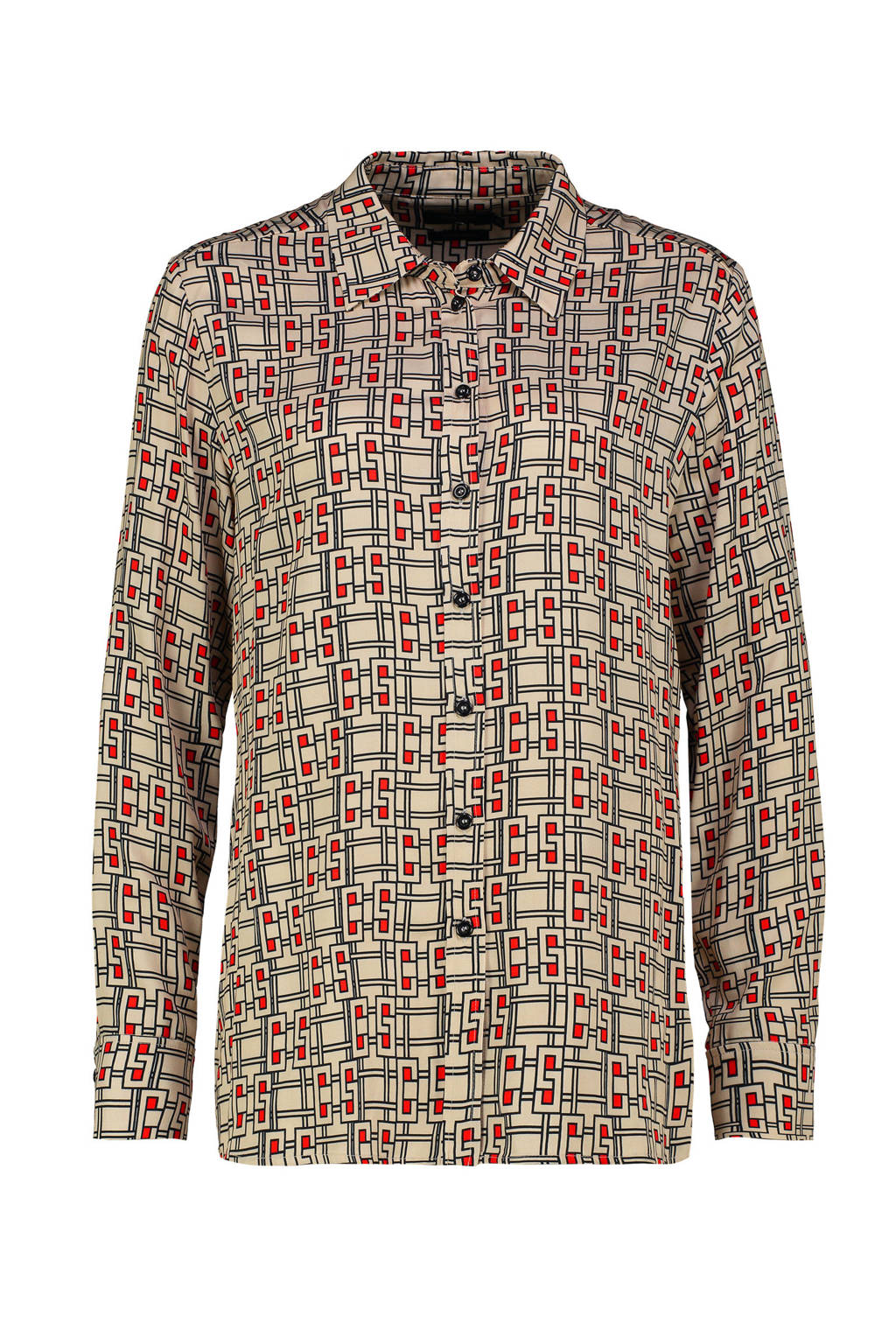 Claudia Sträter blouse met all over print zand/rood