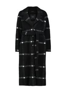 Claudia Sträter geruite  coat zwart, Zwart