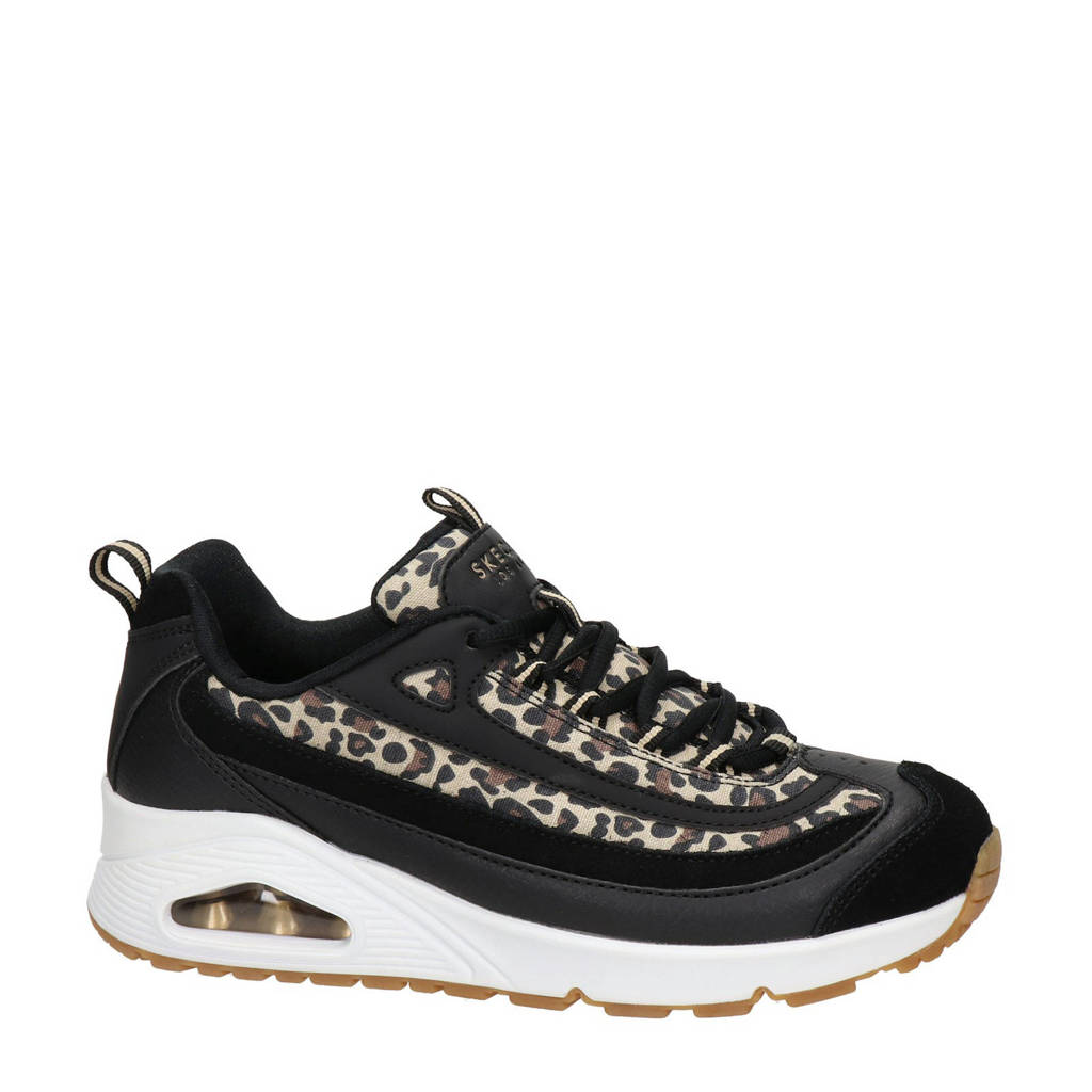 Skechers Uno Wild Streets  chunky sneakers met panterprint zwart, Zwart/bruin