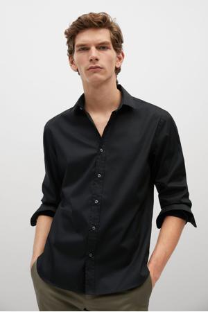 slim fit overhemd zwart
