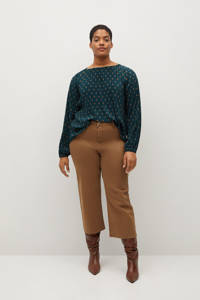 Violeta by Mango top met stippen turquoise, Turquoise
