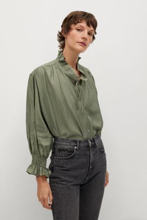 blouse met ruches groen