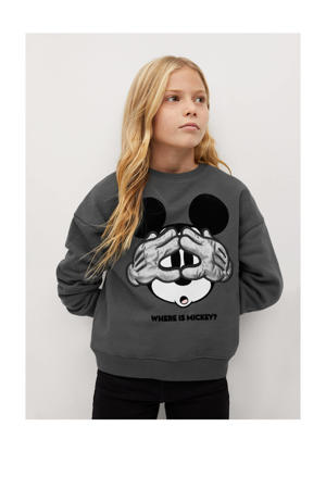 Mickey Mouse sweater met printopdruk antraciet