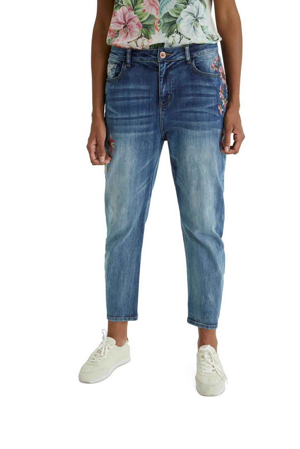 Desigual mom jeans met borduursels light denim, Light denim