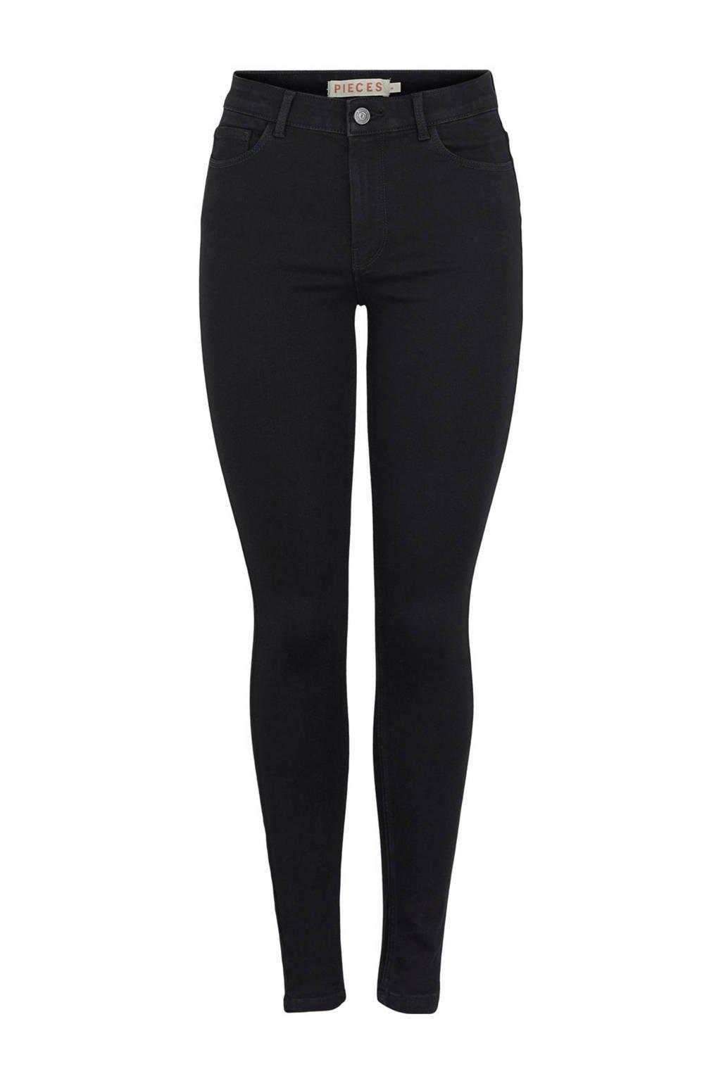 PIECES skinny jeans PCMIDFIVE zwart, Zwart