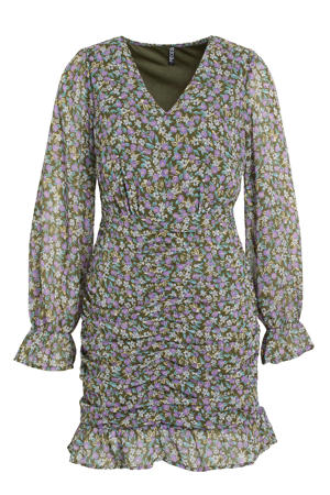 gebloemde jurk PCMOLA groen/paars