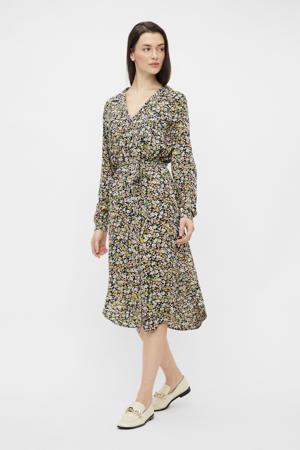 jurk PCTY met all over print zwart/groen/paars