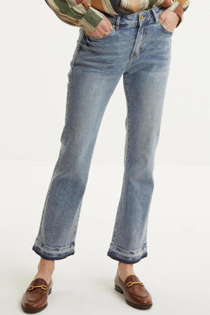 cropped high waist flared jeans light denim