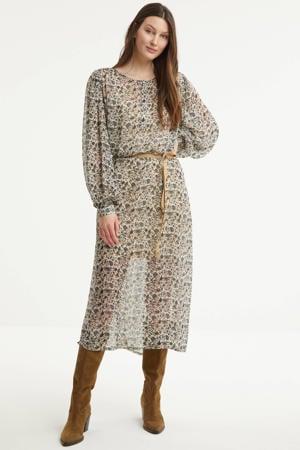 semi-transparante maxi jurk met all over print en ceintuur bruin