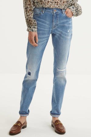 tapered fit jeans bleached denim