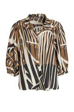 blouse met all over print bruin/zwart