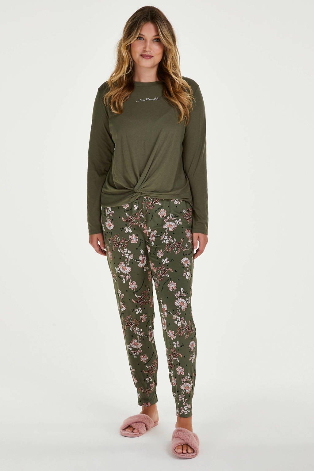 Hunkemöller gebloemde pyjamabroek groen/roze, Groen/roze
