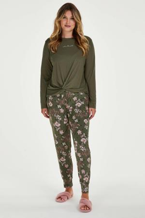 gebloemde pyjamabroek groen/roze