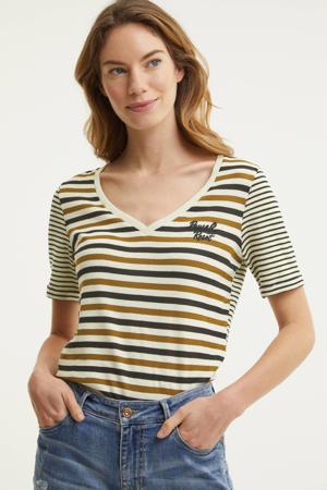 gestreept T-shirt bruin/zwart