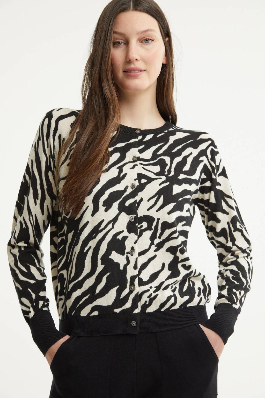 Summum Woman vest met zebraprint zwart/zand, Zwart/zand