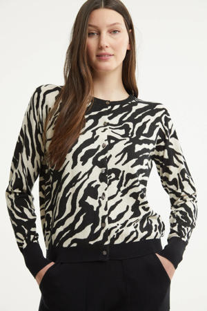 vest met zebraprint zwart/zand