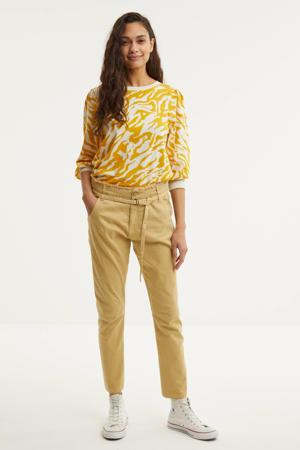 gebreide trui met zebraprint geel/wit