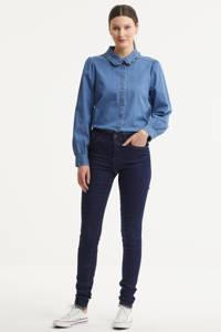 VERO MODA mid waist skinny jeans VMTANYA dark blue denimwash, Donkerblauw