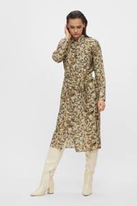 OBJECT blousejurk OBJAZZA met all over print en ceintuur kaki, Kaki