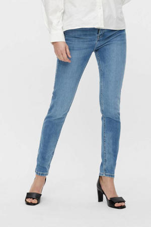 high waist slim fit jeans OBJKELLY medium blue denim