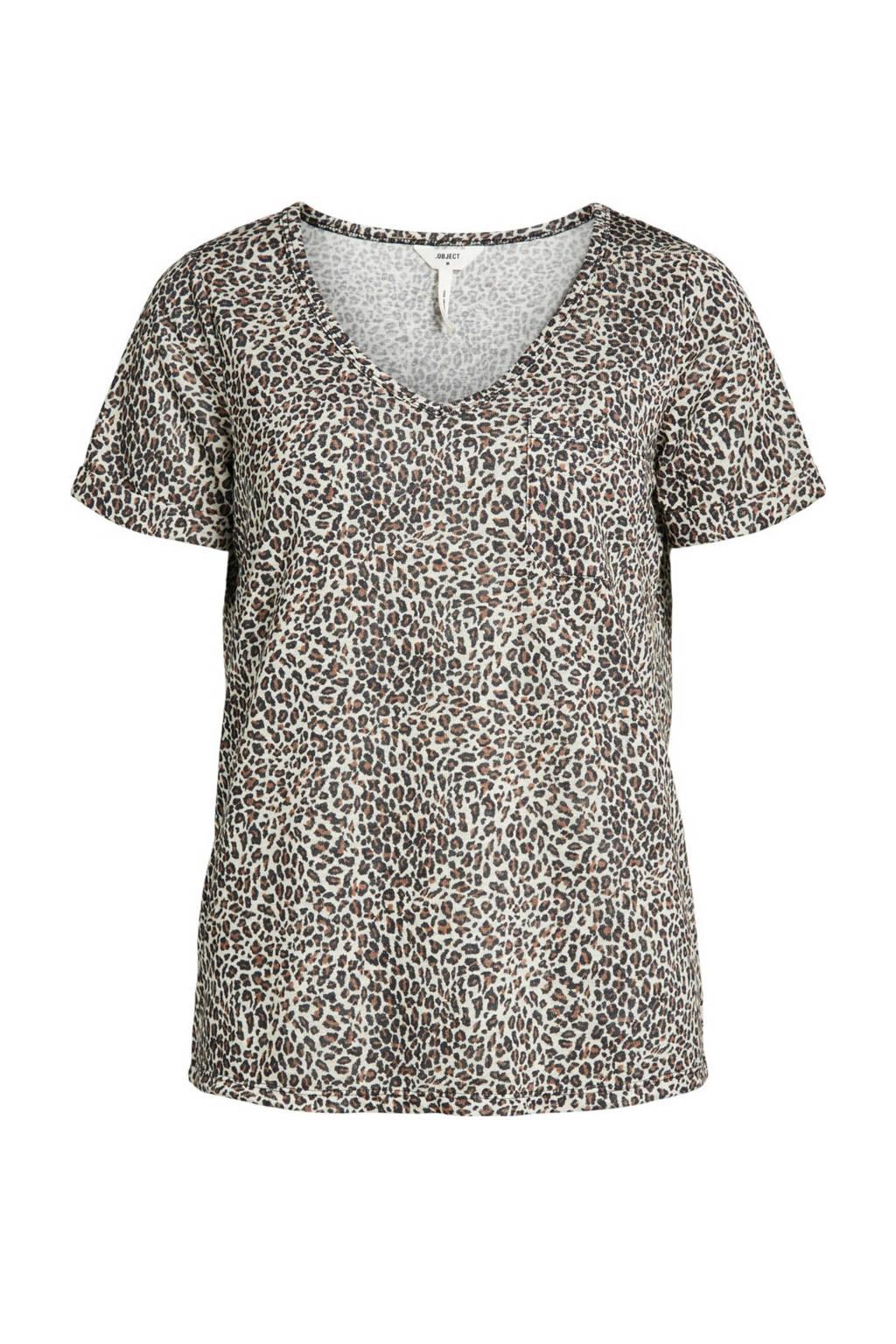 OBJECT gemêleerd T-shirt OBJTESSI ecru/bruin, Ecru/bruin