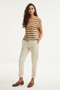 Summum Woman gestreept T-shirt terra/okter/lichtblauw, Terra/okter/lichtblauw
