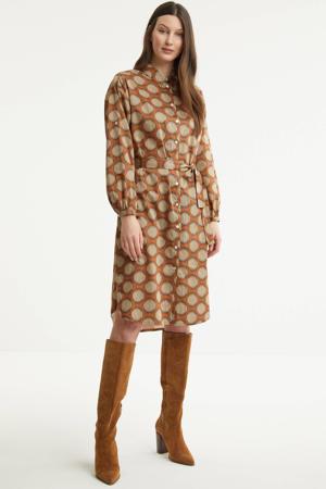 blousejurk met grafische print en ceintuur bruin