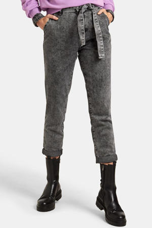 high waist slim fit jeans Snowy L28 donkergrijs