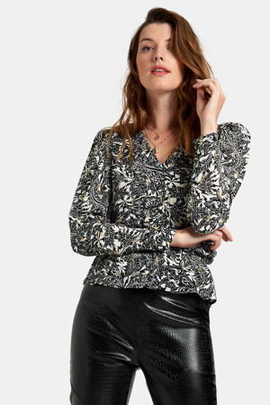 blouse Flame met all over print zwart/wit