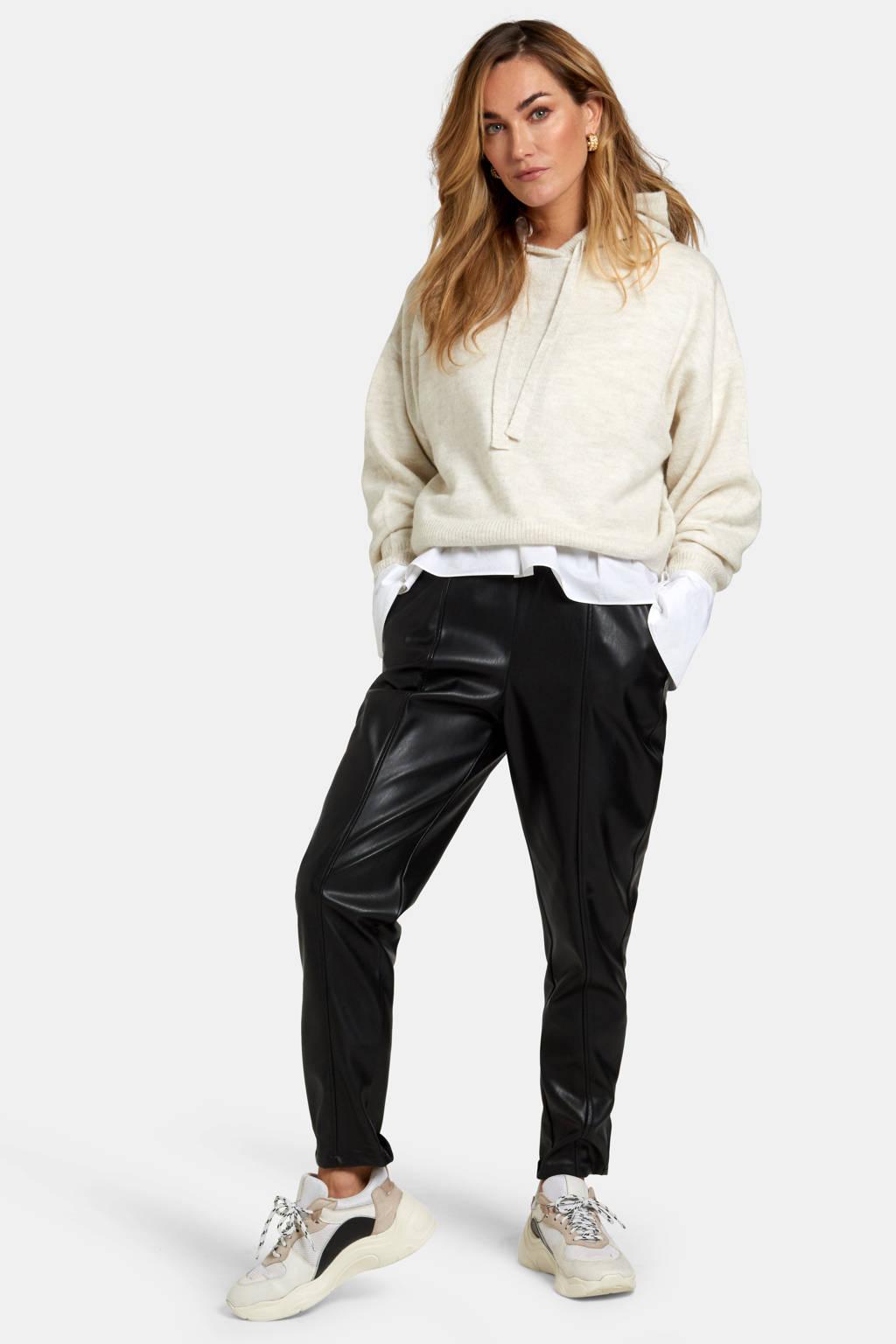 Shoeby imitatieleren regular fit broek Leatherlook zwart, Zwart